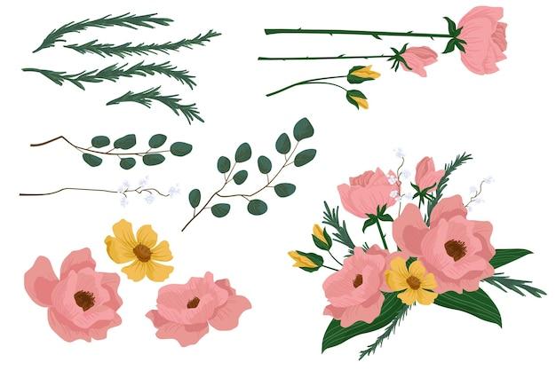 Coleção plana detalhada de flores de primavera