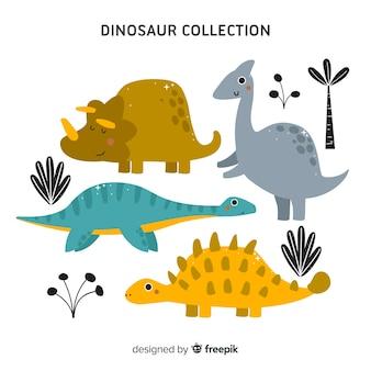 Coleção plana dinossauro
