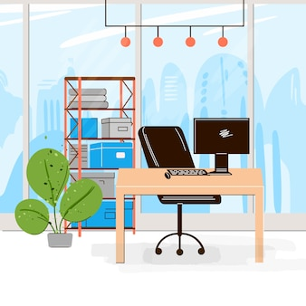 Coleção plana do local de trabalho criativo com espaço aberto moderno e interior vazio do escritório - negócios e trabalho contemporâneo illustraton. composição horizontal plana.