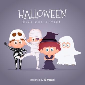 Coleção plana garoto halloween