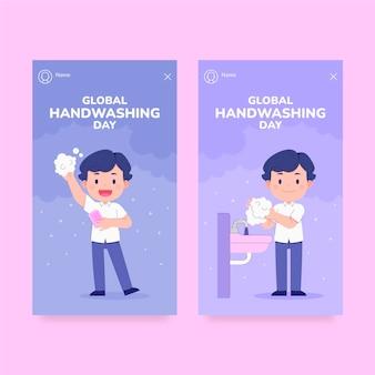 Coleção plana global de histórias do instagram do dia da lavagem das mãos desenhada à mão