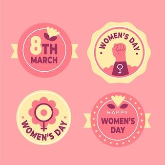 Coleção plana internacional de crachás do dia da mulher