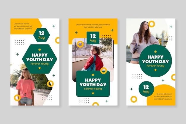 Coleção plana internacional de histórias do dia da juventude com foto