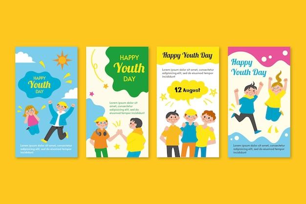 Coleção plana internacional de histórias do dia da juventude