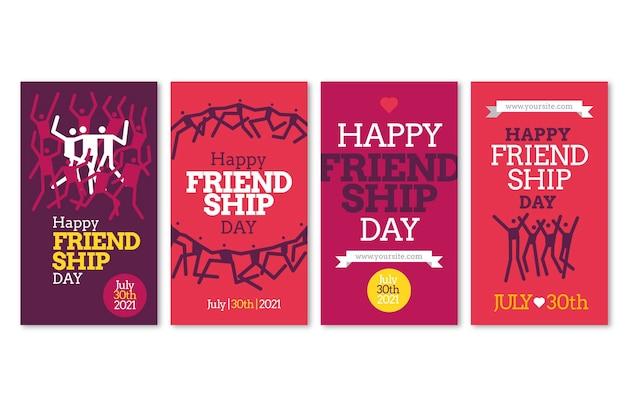 Coleção plana internacional de histórias do instagram do dia da amizade