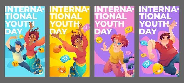 Coleção plana internacional de histórias do instagram do dia da juventude