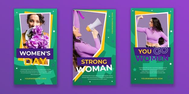 Coleção plana internacional de histórias do instagram do dia da mulher