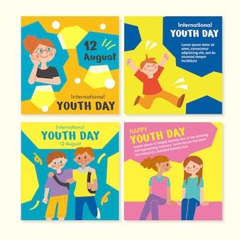 Coleção plana internacional de postagens do dia jovem