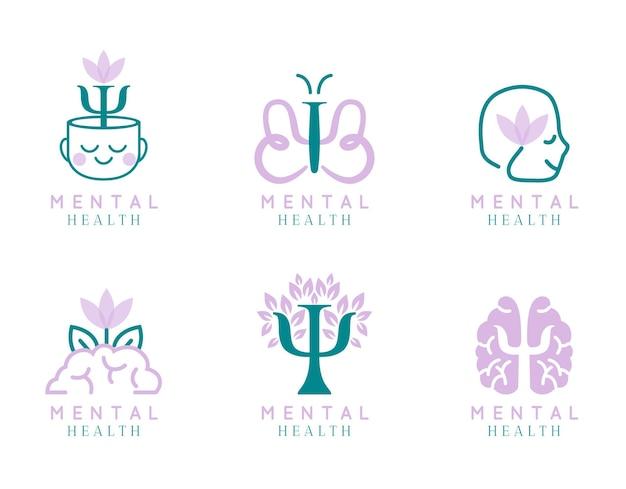 Coleção plana moderna de logotipo de saúde mental
