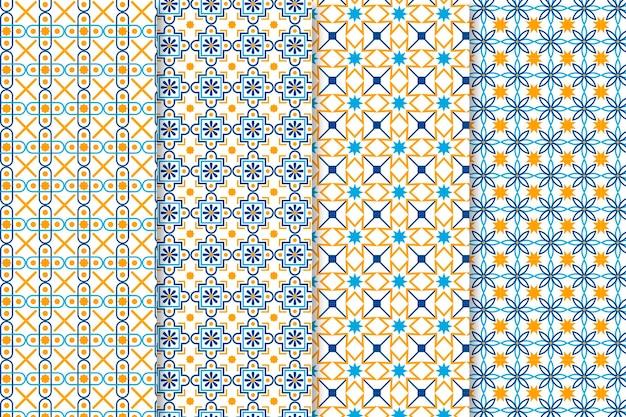 Coleção plana ornamental padrão árabe