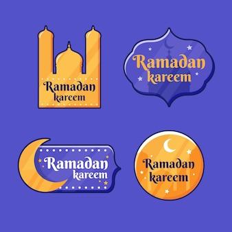 Coleção plana ramadan etiqueta