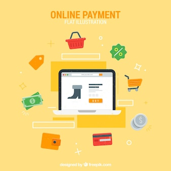 Coleção plana sobre o pagamento on-line
