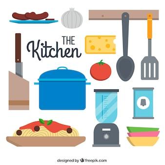 Coleção plana utensílios de cozinha