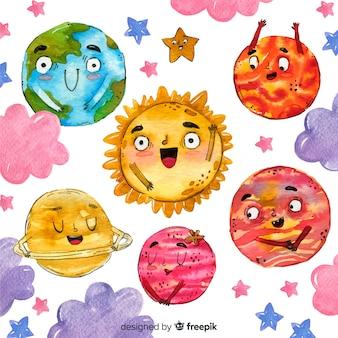 Coleção planeta aquarela com rostos