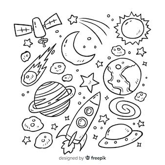 Coleção planeta em design de estilo doodle