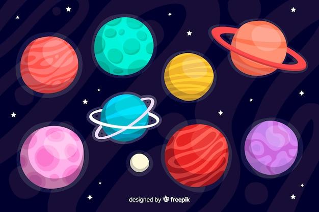 Coleção planeta mão desenhada