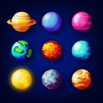 Coleção planeta realista com sol, plutão, marte.