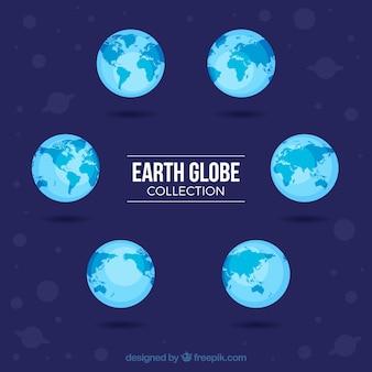 Coleção, plano, terra, globos, azul, tons