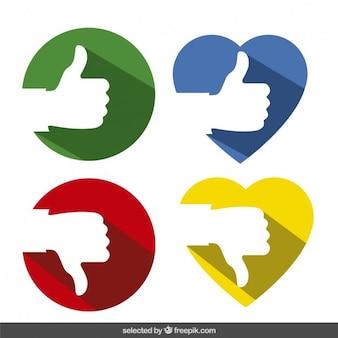 Coleção polegares em círculos e corações