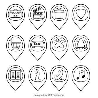 Coleção ponteiro desenhado à mão com ícones