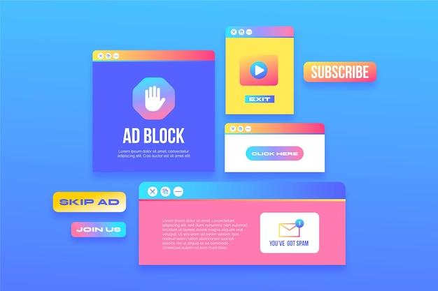 Coleção pop-up em gradiente colorido