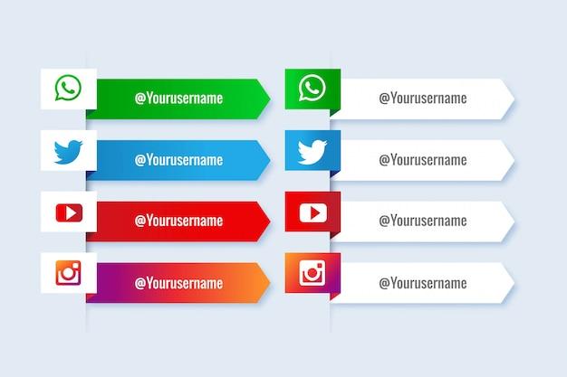 Coleção popular de mídia social terços inferiores com infográfico