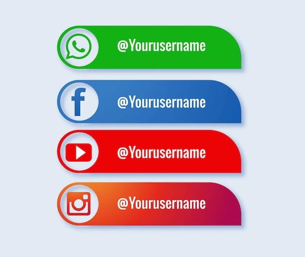 Coleção popular de mídias sociais terços inferiores