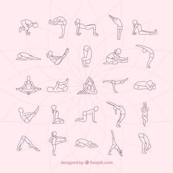 Coleção posturas de yoga