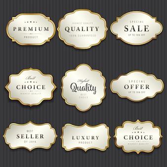 Coleção premium de etiquetas brancas e douradas de pérolas
