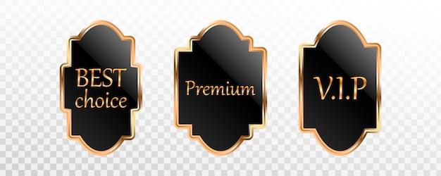 Coleção premium de rótulo, crachá ou etiqueta de ouro preto