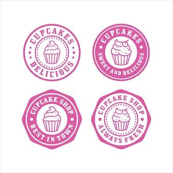 Coleção premium de selos de cupcakes