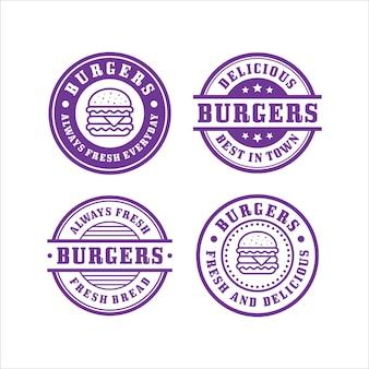 Coleção premium de selos de hambúrguer
