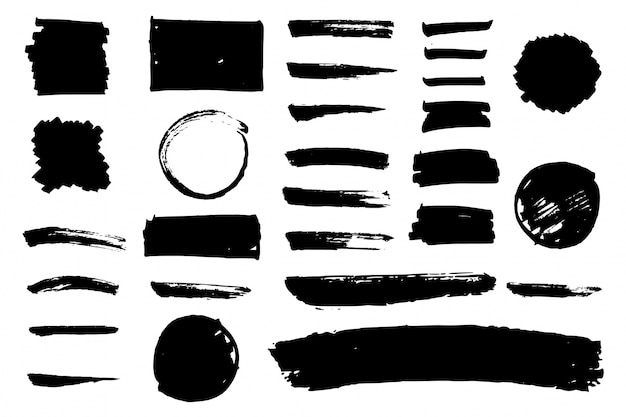 Coleção preto do curso da escova da aguarela
