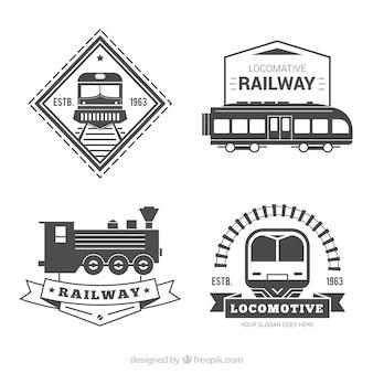 Coleção preto e branco do logotipo do trem