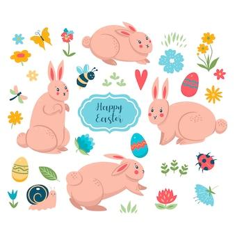 Coleção primavera de páscoa de coelhos e elementos bonitos.