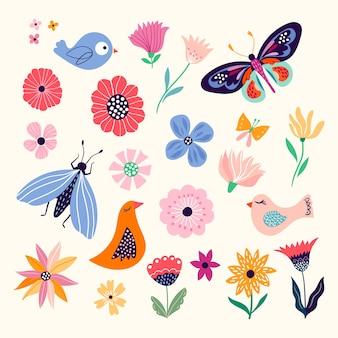 Coleção primavera / verão com elementos sazonais, flores, borboletas e pássaros