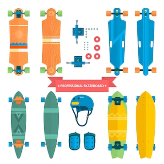 Coleção profissional de skate, skate plano de vetores. skate de todos os lados, extremo. equipamento de proteção.