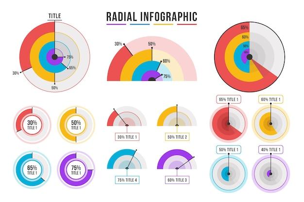Coleção radial infográfico