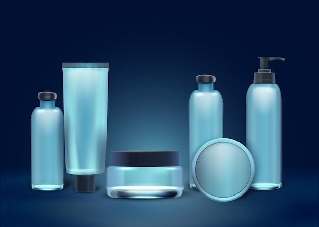 Coleção realista cosméticos naturais em garrafas.