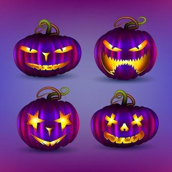 Coleção realista de abóbora de halloween