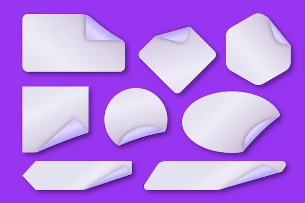 Coleção realista de adesivos de papel