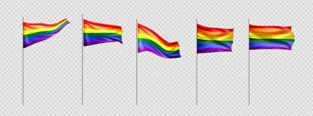 Coleção realista de bandeiras do dia do orgulho