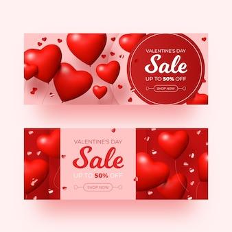 Coleção realista de banners de promoção do dia dos namorados