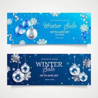 Coleção realista de banners de venda de inverno