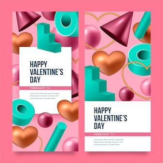 Coleção realista de banners do dia dos namorados