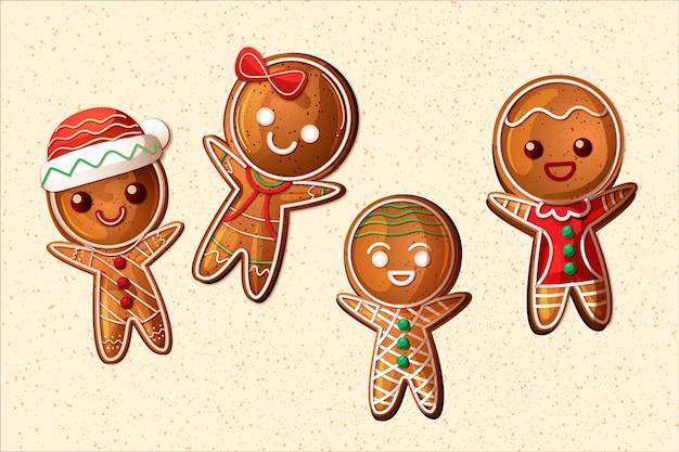 Coleção realista de biscoitos de gengibre