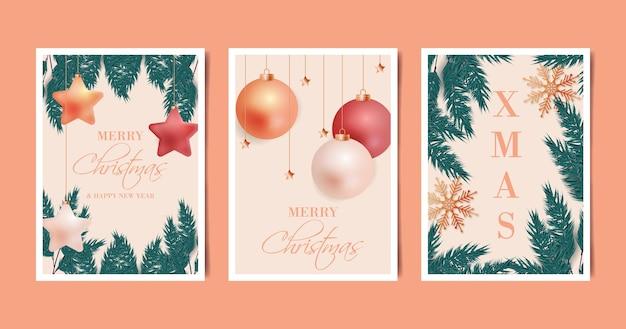 Coleção realista de cartões de natal
