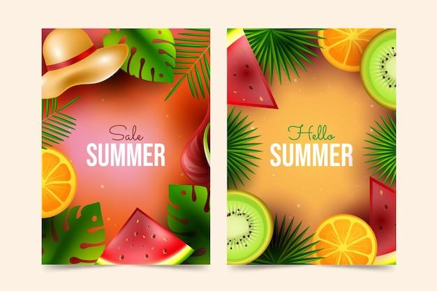 Coleção realista de cartões de venda de verão