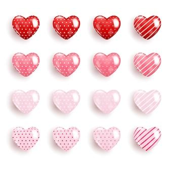 Coleção realista de corações dos namorados em cores diferentes