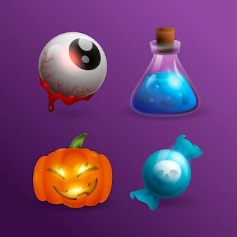 Coleção realista de elementos de halloween